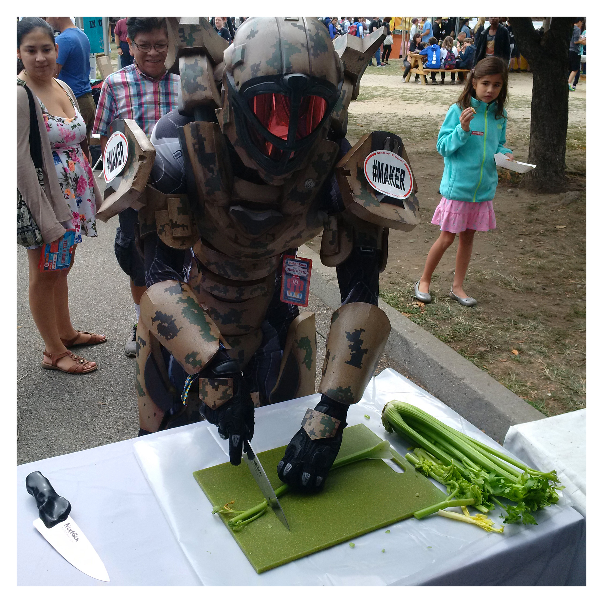 Master Chief Demoing a NextGen Knife at Maker Faire